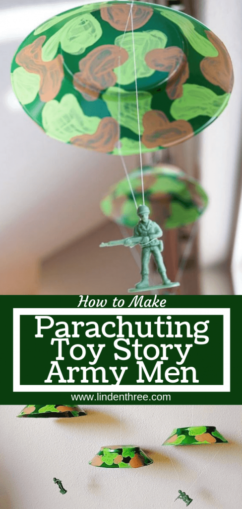 Learn How to Make Parachuting Toy Story Army Men for an army or Toy Story themed party! Just a few materials to include this unique detail, a great ceiling decoration. #toystoryparty #armymen #toystorydecorations