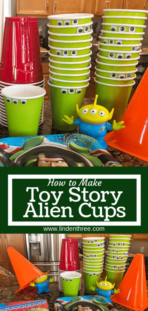 Learn How to Make Toy Story Alien Cups for a Toy Story party! Celebrate Toy Story 4 or a space party with these simple and fast cups at a drink station. #toystoryparty #toystory4 #aliencups